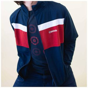 Lambretta Poly Tricot Track Jacket - Navy/Red