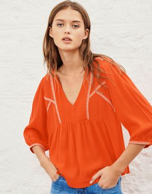 BA&SH Amber Embroidered Top - Rouge