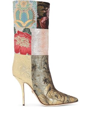 DOLCE E GABBANA WOMEN'S CT0735AO65780995 MULTICOLOR LEATHER BOOTS