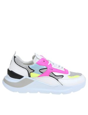 D.A.T.E. WOMEN'S W341FGFLWB WHITE LEATHER SNEAKERS