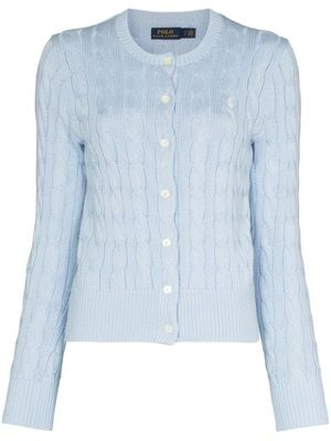 LOGO EMBROIDERY CARDIGAN IN LIGHT BLUE
