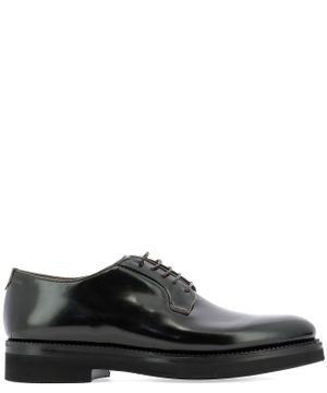 FABI MEN'S FU9186ARMY BLACK LEATHER LACE-UP SHOES