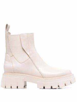ASH WOMEN'S LINKS02 WHITE LEATHER ANKLE BOOTS
