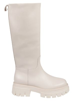 ASH WOMEN'S LUCKY02MUSTANG WHITE LEATHER BOOTS