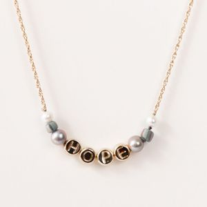 Akola HOPE Inspirational Dainty Beaded Necklace with Gray Pearl & Glass