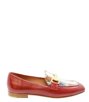 Madison Maison By Mara Bini Gioia Red Flat Loafer With Snake