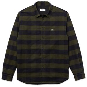 Lacoste Checked Quilted Cotton Flannel Overshirt CH3008 - Khaki Green