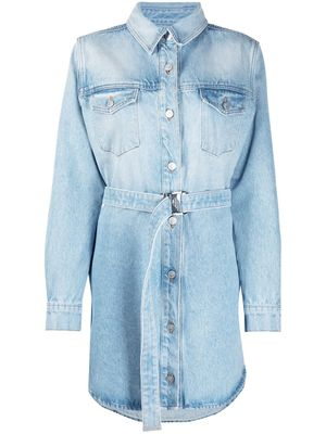OFF WHITE - Shirt Dress jeans with embroidered flowers