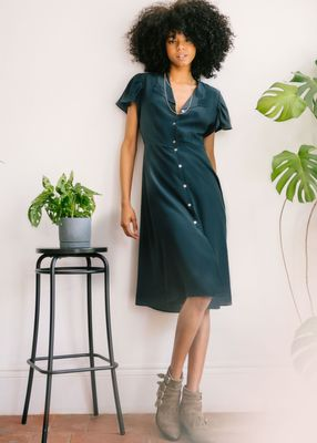 Pyrus Poppy Embroidered Collar Dress