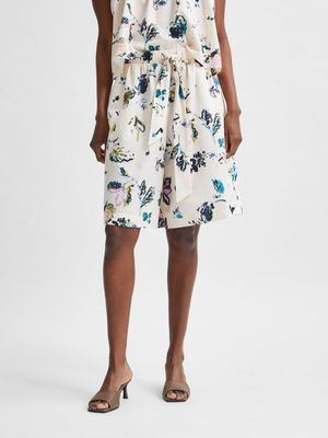 Selected Femme Organic Cotton Shorts - Floral/Sandshell