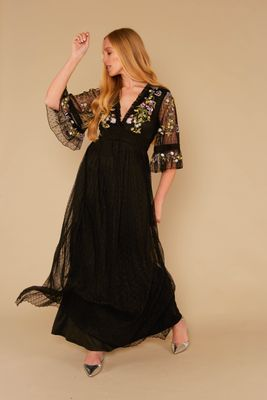 Frock and Frill Leandra Maxi Dress with Floral Embroidery