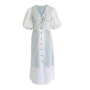 White Cotton Dress Lousa with puffed sleeves