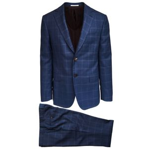 Pal Zileri Blue Suit with Lilac Check   Blue check