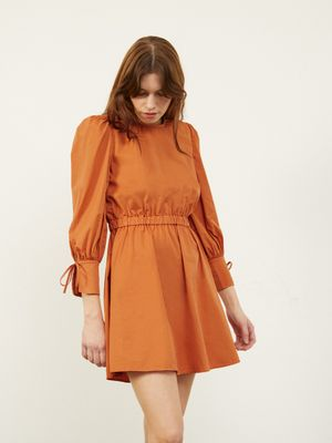 Carly Open Tie Back Dress in Toffee , Colour:Toffee