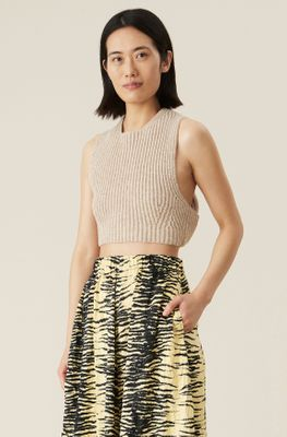 Ganni Sand Knitted Top