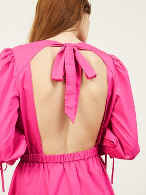 Carly Open Tie Back Dress in Cosmo Pink , Colour:Cosmo Pink