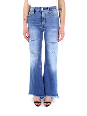 BELL BOOTCUT BLEACHED VINTAGE RIPPED AZZURRO