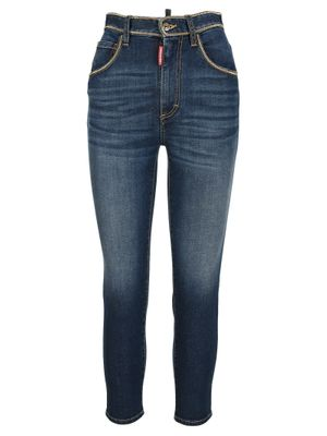 High-waisted chain-trim cropped jeans