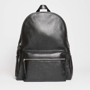 Orciani Leather Backpack Black Hammered