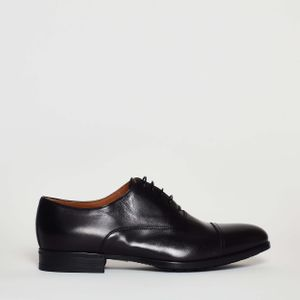 Doucal's Classic Shoe Laces in Black Leather Textured, Rubber Bottom 30 mm