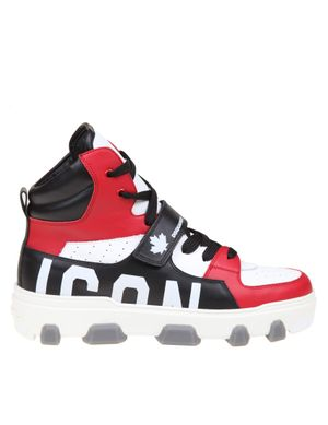 Dsquared2 icon basketball sneakers in leather