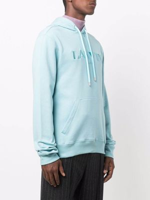 LANVIN Embroidered Logo Hoodie Blue
