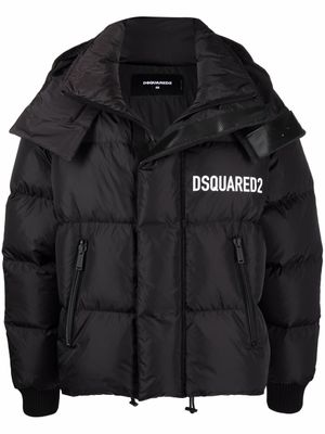 DSQUARED2 Logo-print feather-down padded jacket Black