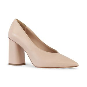 Aristocrat Leather Court Shoe with Thick Heel