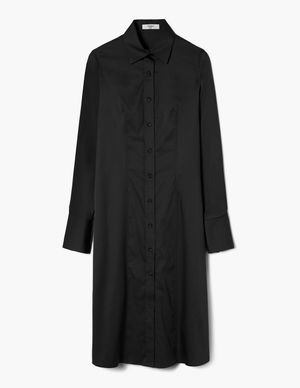 Black Long-Sleeve Fitted Shirtdress