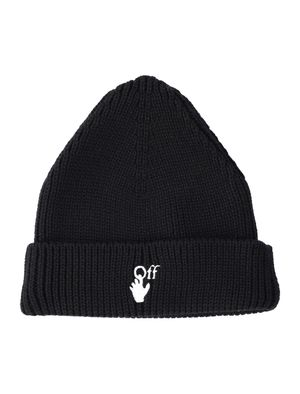Hands Off ribbed-knit beanie