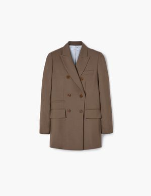 Coffee Double-Breasted Wool Blazer