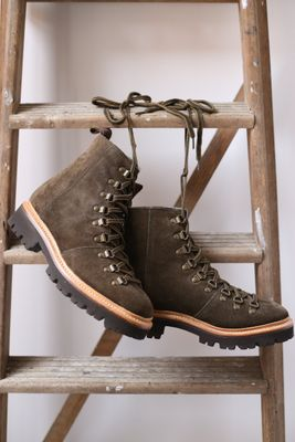 Nanette Military Suede Shearling Lined Hiker Boots