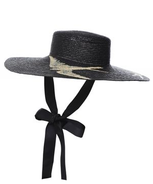 Ferruccio Vecchi Canotto Woven Straw Bird Detail Hat Colour: Black