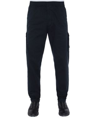 Stone Island 310F2 Ghost Cargo Pants in Stretch Cotton Twill Garment Dyed Blue