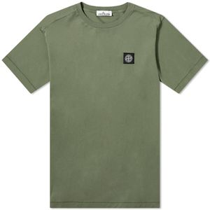 Stone Island Garment Dyed Patch Logo Tee Olive