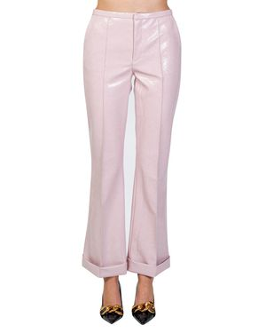 PINK SNAKE PATTERN LEATHER FLARED TROUSERS