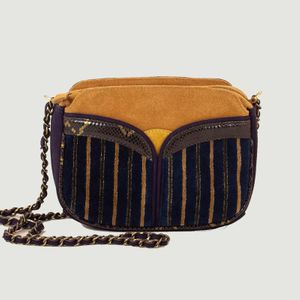 Divine Browny multi-material bag Browny navy  Sessùn