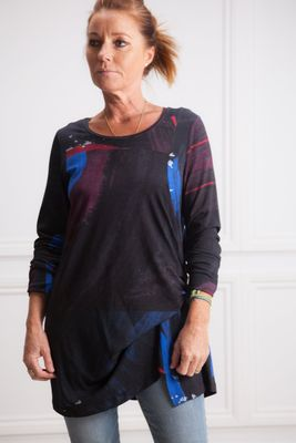 Crea Concept Print Top with Gathered Side