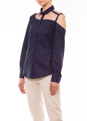 One Shoulder Button Down Bouse Navy Blue