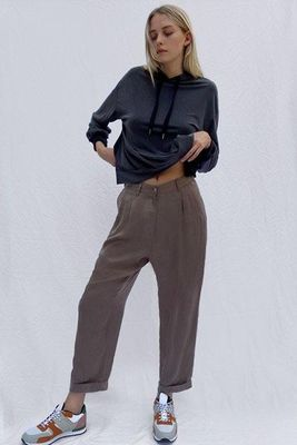 French Connection - Rosanna Cupro Pleated Trousers - Mocha Mousse - 74PBJ