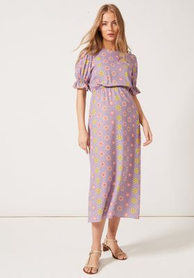 TILLY Round Necked Midaxi Puff Sleeved Dress Lilac Daisy