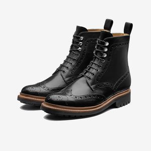 Grenson Fred Calf Brogue Boots Black