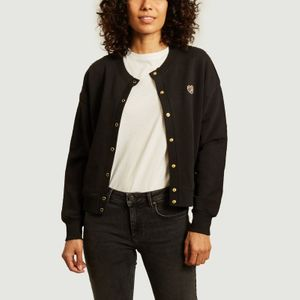 Patch Cœur organic cotton cardigan Black Maison Labiche Paris