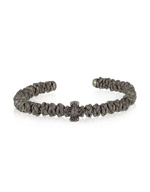 BE UNIQUE MEN'S REPTILEBLUESTEEL BLACK METAL BRACELET