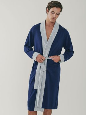 Stowe Cashmere Robe - Navy Blue