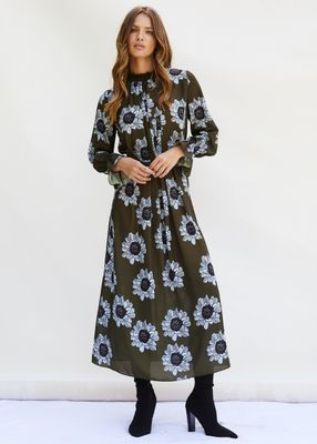 FELICITY Midaxi Dress with shirred high neck detail in Blue and Olive Poppy