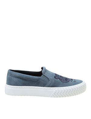 KENZO WOMEN'S FA62SN200L7562 BLUE SUEDE SLIP ON SNEAKERS
