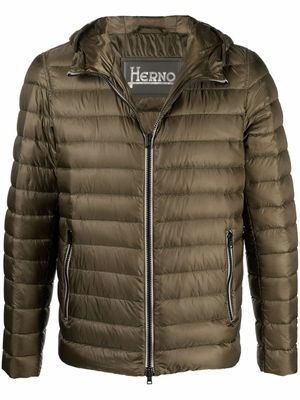 HERNO MEN'S PI0723U120207740 GREEN POLYESTER DOWN JACKET
