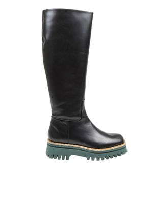 Paloma barcelo anger boot in black colroe leather
