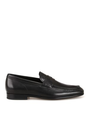 TOD'S MEN'S XXM51B00010D90B999 BLACK LEATHER LOAFERS